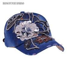 New Fashion Floral Adjustable Women Cowboy Denim Baseball Cap Jean Summer Hat Female Adult Girls Caps Snapback Bone Hats