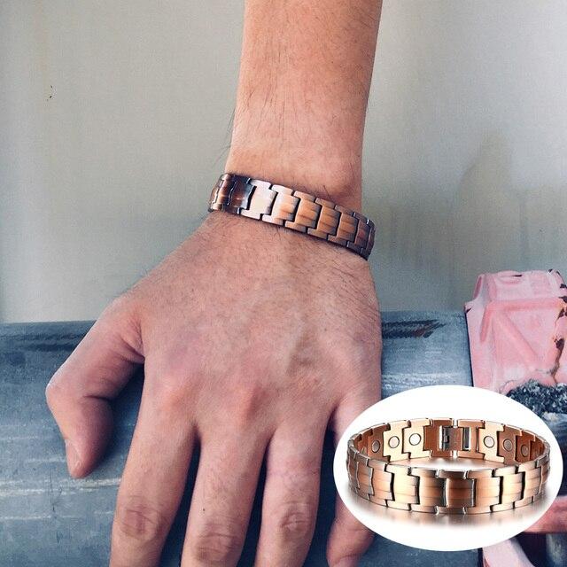 Vinterly Bio Magnetic Bracelet Copper Benefits Vintage Energy Men Chain Magnet Health Charms Mens