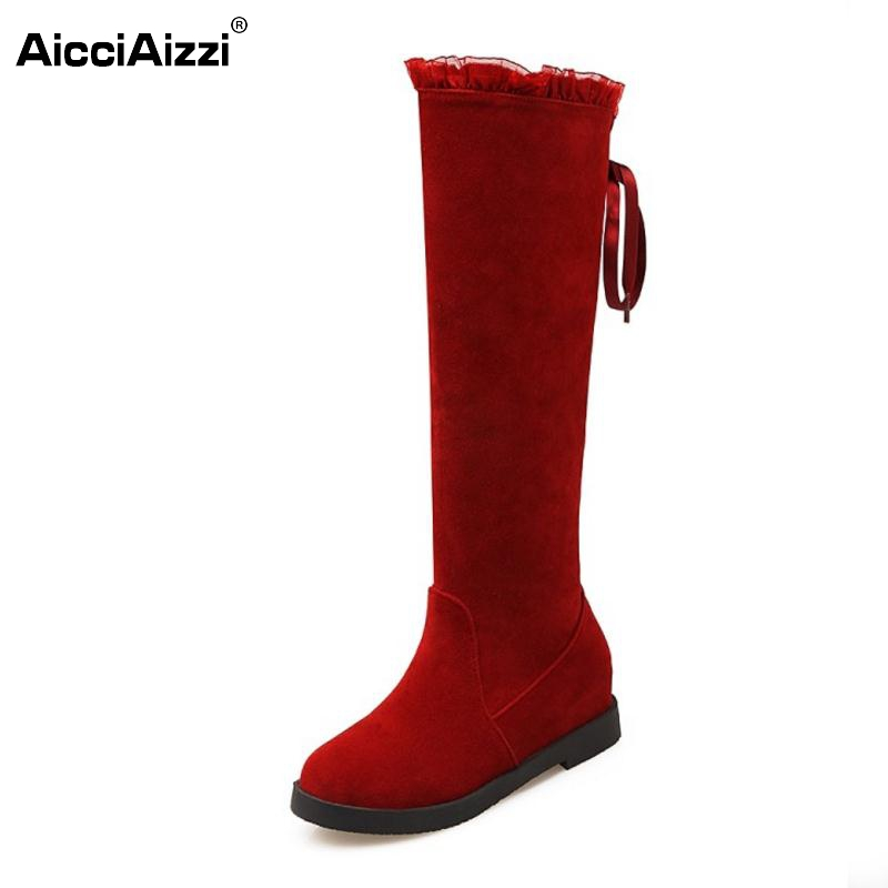 Women Winter Knee Boots Round Toe Lace Up Botines Mujer Woman Fashion Low Heel High Quality Flat Footwear Shoes Size 34-43 enmayla winter autumn round toe low heel knee high boots women flats lace up shoes woman rider brown black suede motorcycle boot