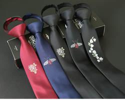 5 см Узкие галстуки Мода Взрыв бизнес для мужчин узкий вариант ленивый молния стиль легко тянуть вышивка черный, красный галстук