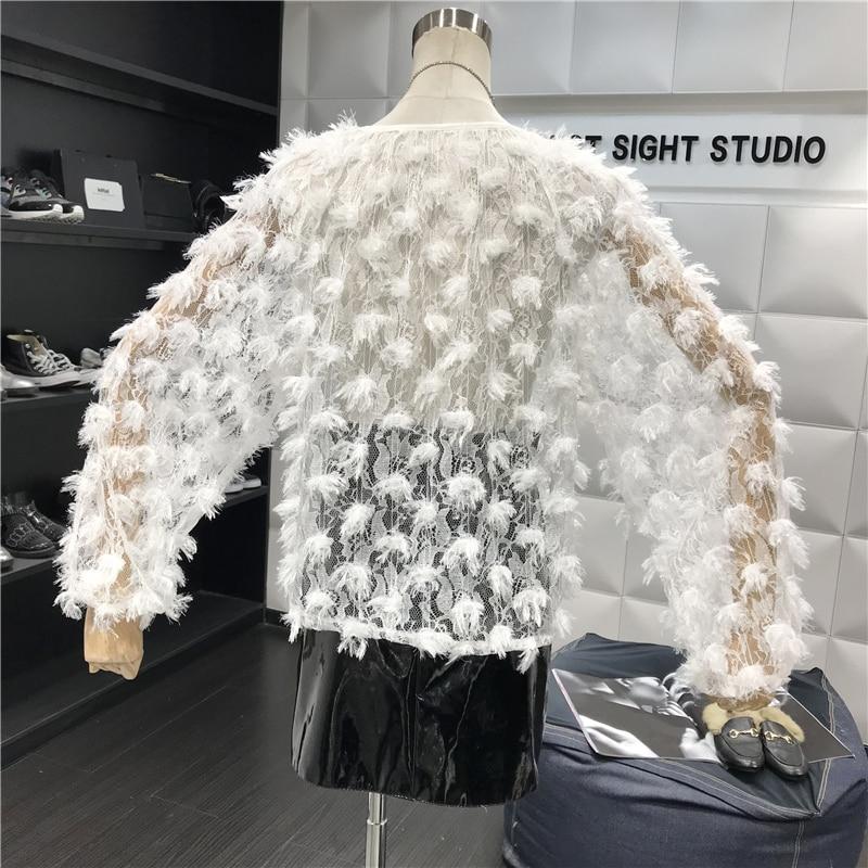 Nouveau Chemise Sexy Perspective Gland Printemps Femmes Manches Plume Creusé Tops Blouse À E315 Crochet Longues 5wq7x8B