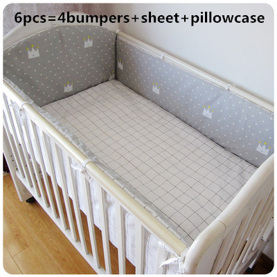 6pcs Grey Crown Paracolpi Lettino Cot Crib Bedding Set Baby Sheet Cribs For Babies Nursery Bedding (4bumpers+sheet+pillow Cover)