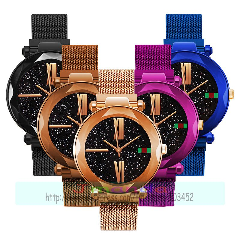 100 stks/partij mode Magneet mesh horloge geen logo romeinse nummer kleur riemen mannen lady polshorloge hoge kwaliteit Sterrenhemel mesh horloge-in Dameshorloges van Horloges op  Groep 1