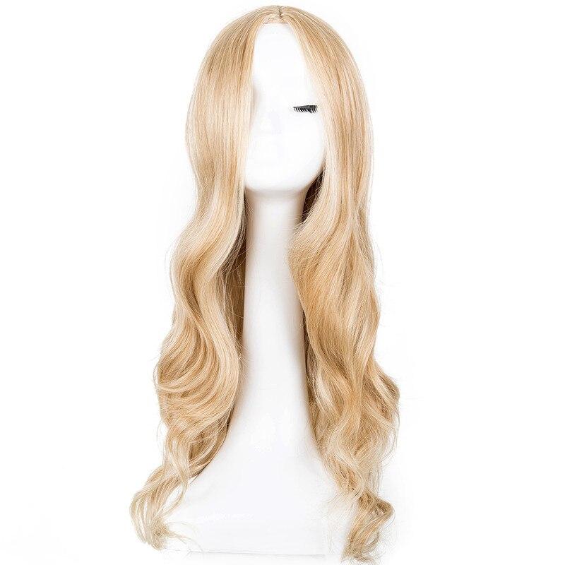 Косплэй парик фей-шоу Синтетический Длинные вьющиеся средней части линии блондинка Для женщин волос костюм карнавал Halloween Party салон парики