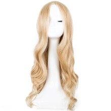 Fei show Peluca de pelo largo sintético para mujer, peluca de pelo largo sintético rizado de corte medio, peluca de peluquería para fiesta de Halloween