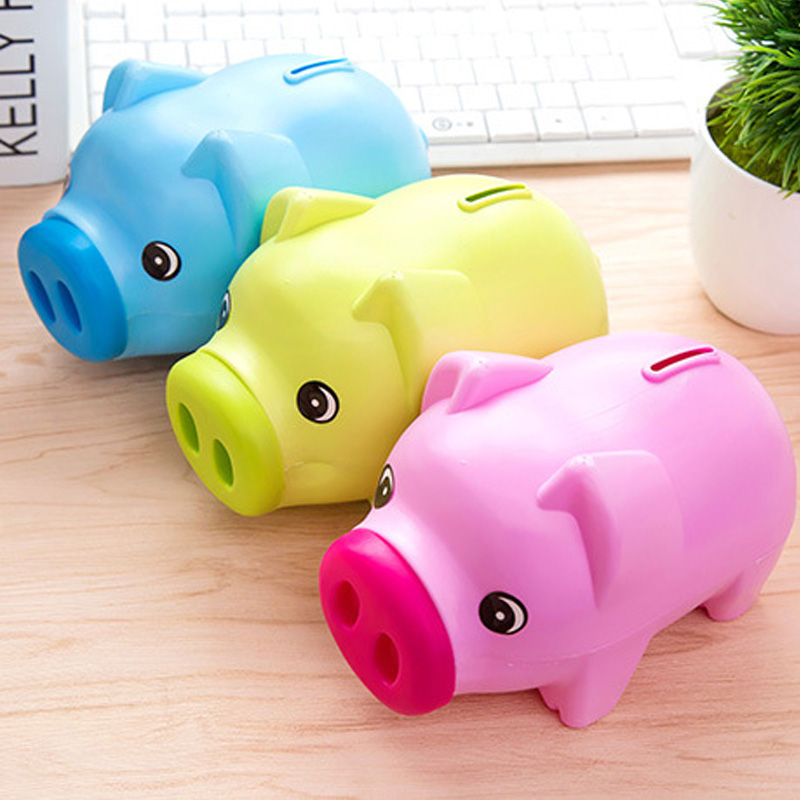 7″ Cute Plastic Piggy Bank Coin Saving Money Box Cash Pig Kids Gift Children