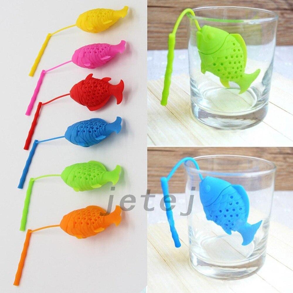 Cute fish shape tea infuser silicone strainers tea for Fish tea bags