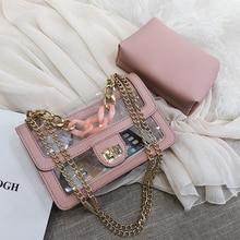 Designer brand small satchels high quality pu leather clutch pvc clear  handbags gold metal chain messenger d62ed81a43aa3