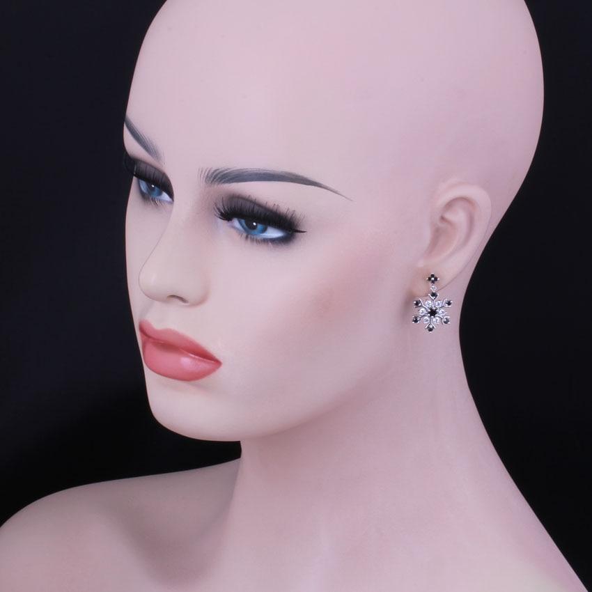 Fabulous Snowflake Black Cubic Zirconia White CZ 925 Sterling Silver Drop Dangle Earrings For Women V1024 in Drop Earrings from Jewelry Accessories