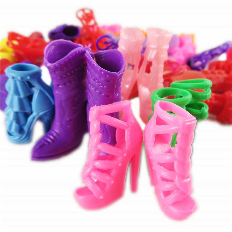 Karışık Moda 10 Çift Bebek Renkli Ayakkabı Topuklu Sandalet Botlar 12 Inç Bebekler Için Elbise Aksesuarları kızın Hediye Çocuklar oyuncaklar