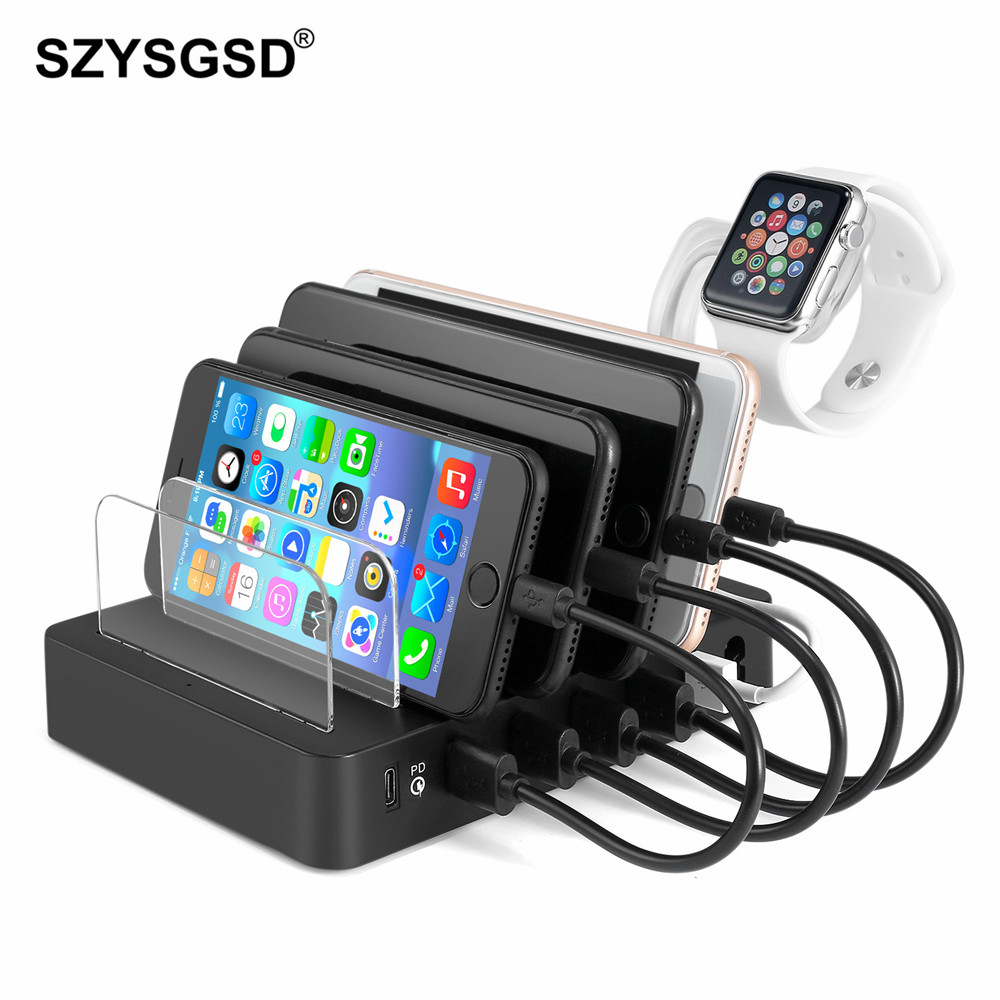multi usb phone charger 6 ports fast charging station dock stand holder for iphone x 8 7 for. Black Bedroom Furniture Sets. Home Design Ideas