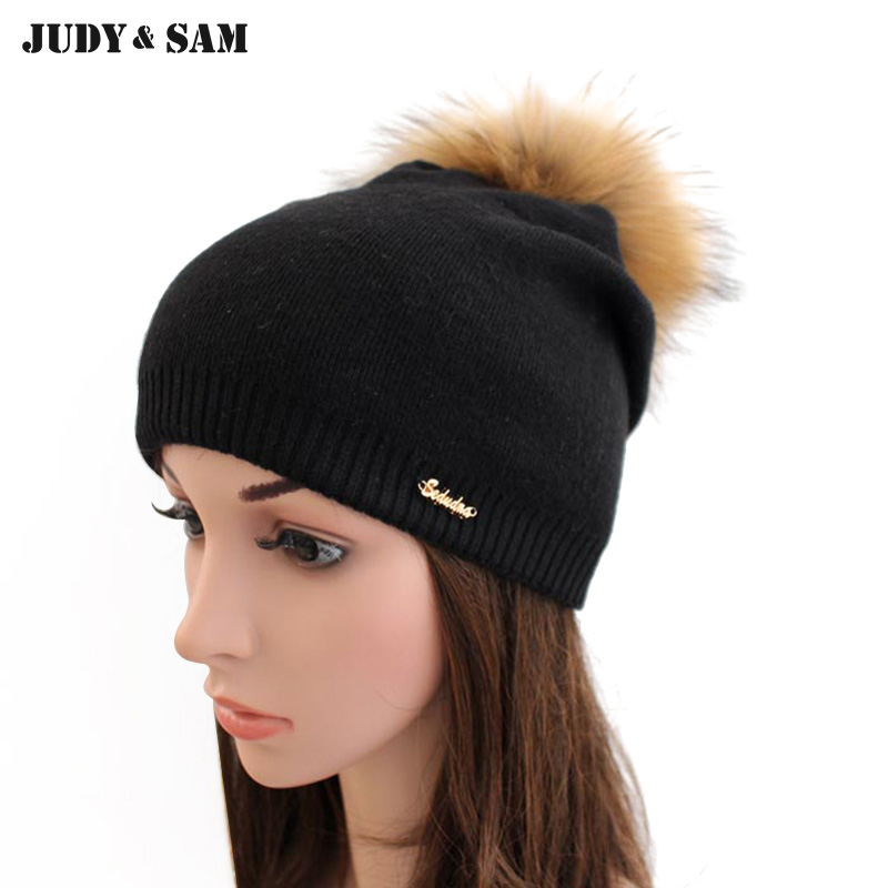 Warm Winter Wool Knitted Black Women Beanies Hat with Real Raccoon Fox Fur Pompoms Solid Colors Gorros Cap 2016 organic rushed real tights knitted solid organic spandex winter pregnant women trousers bamboo charcoal fiber warm