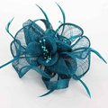 Handwork Beige Red Navy Blue Sinamay Flower Headwear For Women Fashion Elegent Fascinator Feather Hair Clip Girl Sinamay Hairpin