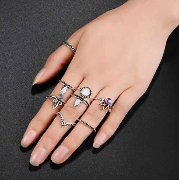 Conjunto de anillo de dedo Midi moda Punk oro plata nudillos anillos para mujer Boho joyería Vintage Bague Femme