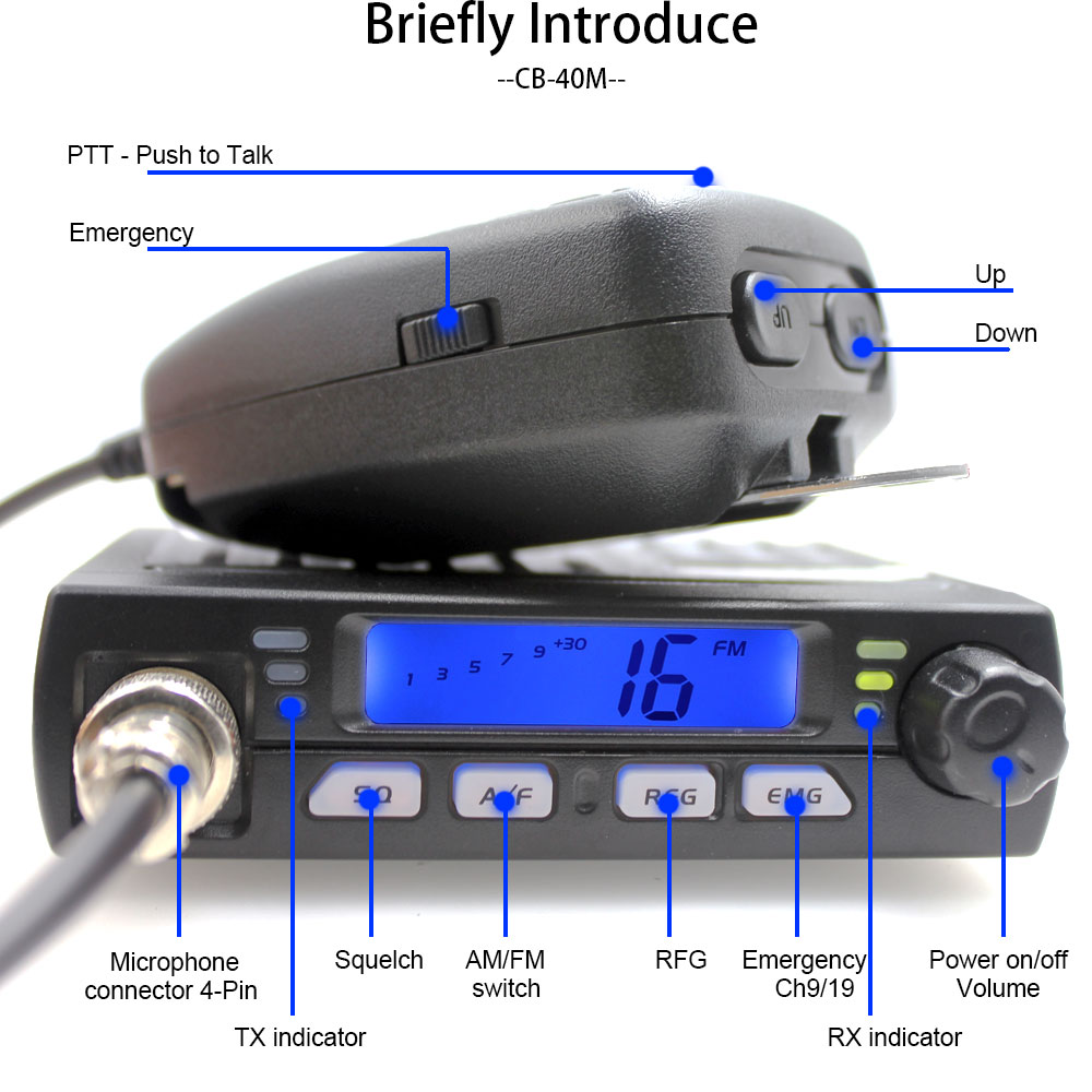 Ultra Mini CB-40M 25.615--30.105MH 8W Citizen band CB Radio Mobile Transceiver Compact AM/FM Car radio same with AC-001 AR-925