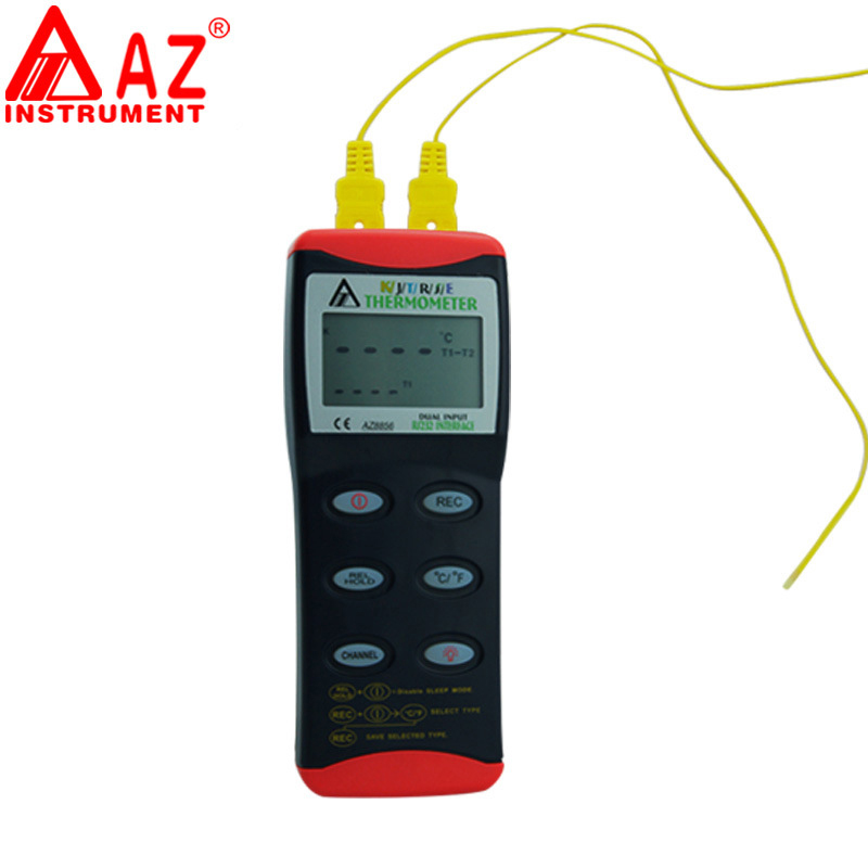 AZ8856 Thermometer Compatible K/J/T/R/S/E type probes,T1 T2 Channel Temperature Measurement Dual Input Thermocouple Thermometer maxgboon original mastech ms6511 single channel digital thermometer j k t e thermometer thermocouple type temperature detector