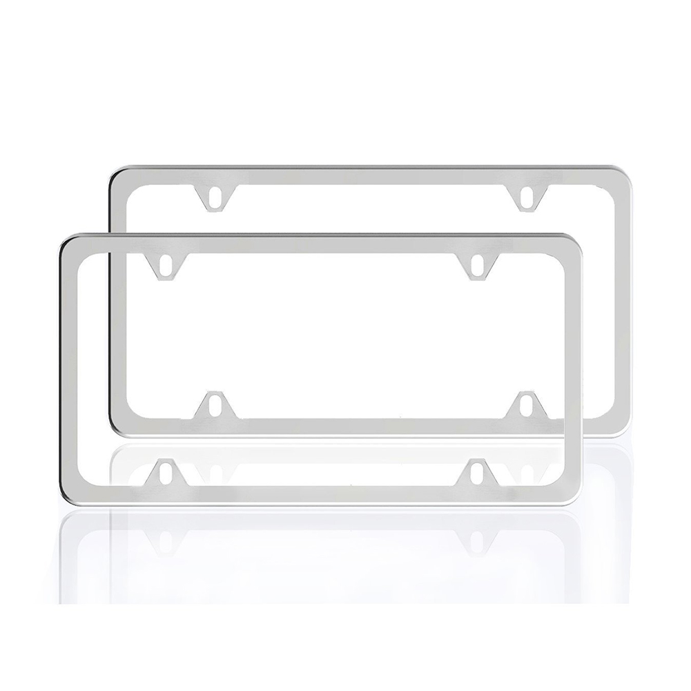 2pcs US Type Stainless Steel Car License Plate Frame Protective Case Set
