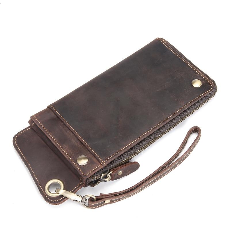 Men Wallet Genuine-Leather Luxury Purse Card-Holder Wristlet-Bag Long-Clutch Vintage