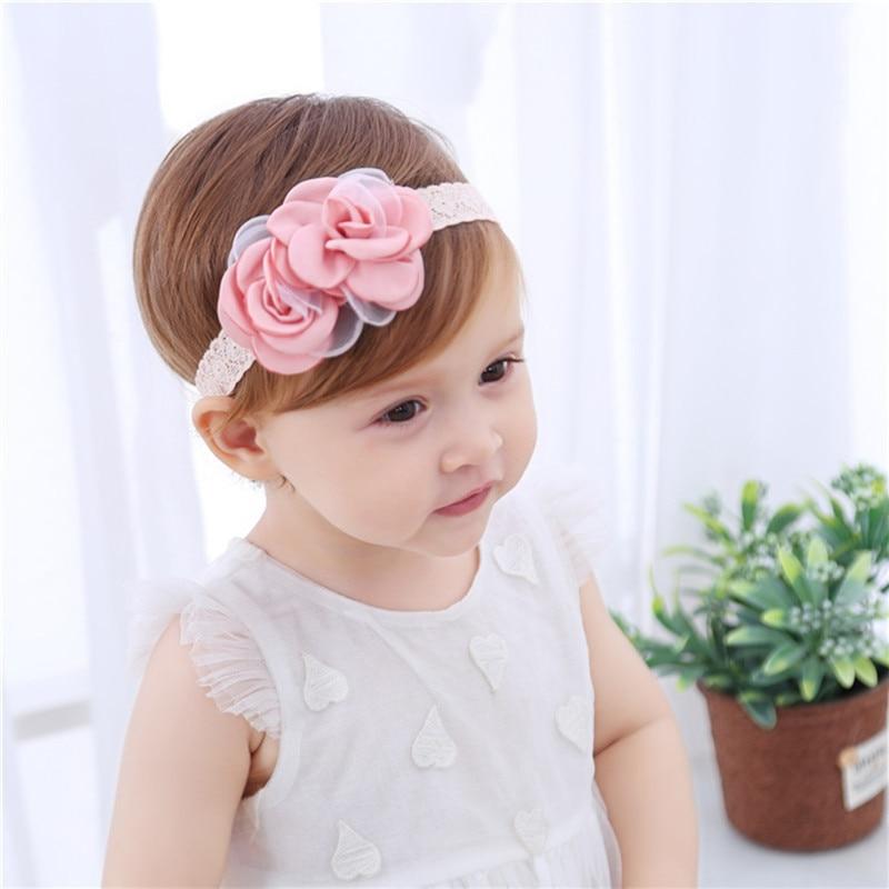 Drop Shipping Baby Girl Pink Rose Headband Fashion Comfort Lace Hairband Child Little Princess Beautiful Headwear Accessories