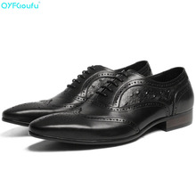 2019 Men Dress Shoes Genuine Leather Office Business Wedding Handmade Brogue Formal Ostrich Pattern Oxfords Mens Shoe