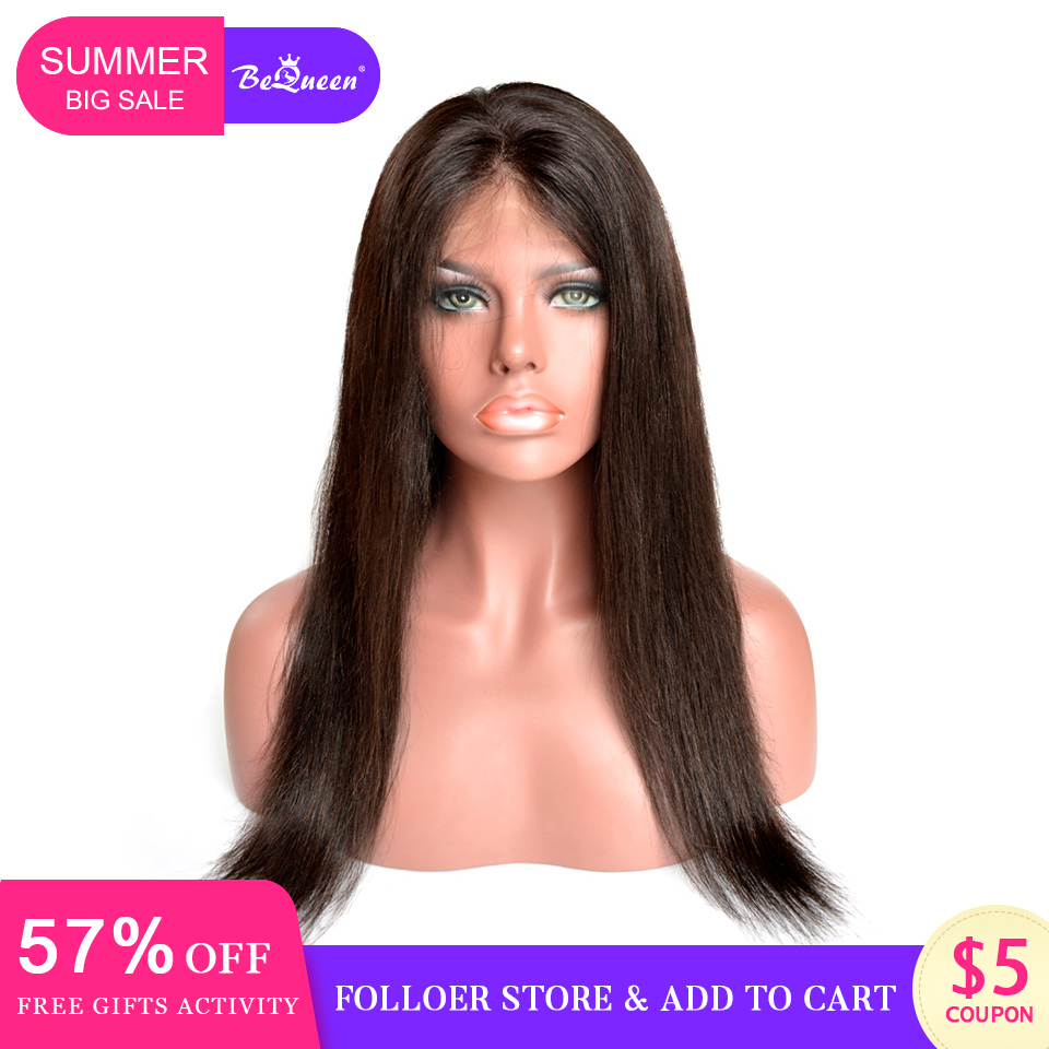 BeQueen 360 Lace Front Human Hair Wigs Hair Brazilian Straight Wave Wig 360 Human Hair Lace