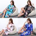 J1686 Noiva Do Casamento Da Dama de honra de Cetim de Seda Robe Kimono Floral Roupão Longo Noite Robe Roupão De Banho Roupão Para As Mulheres Da Moda