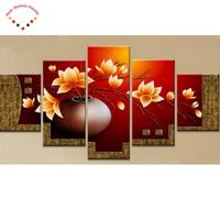 5 pz magnolia flower vase diy diamante pittura a punto croce pieno e Rotondo punta di diamante del ricamo multi-immagini decorazione della casa