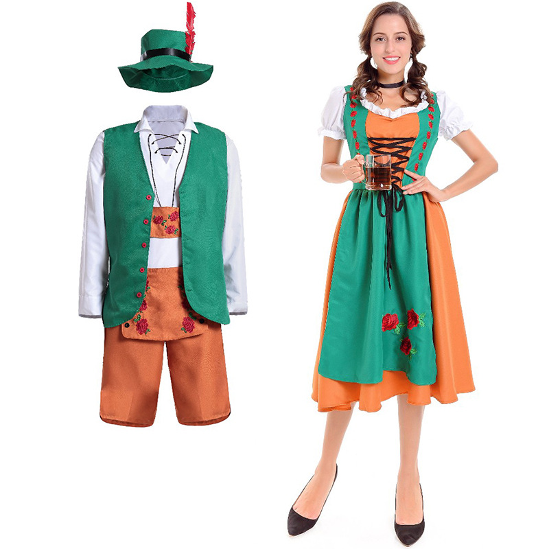 Lovers Oktoberfest  Lederhosen with Suspenders Costume For Man Woman Halloween Party Waiter Maid Costumes Size  M  XL
