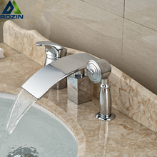 chrome brass bathroom waterfall tub filler deck mount 3pcs bathtub mixer taps with brass handheld shower