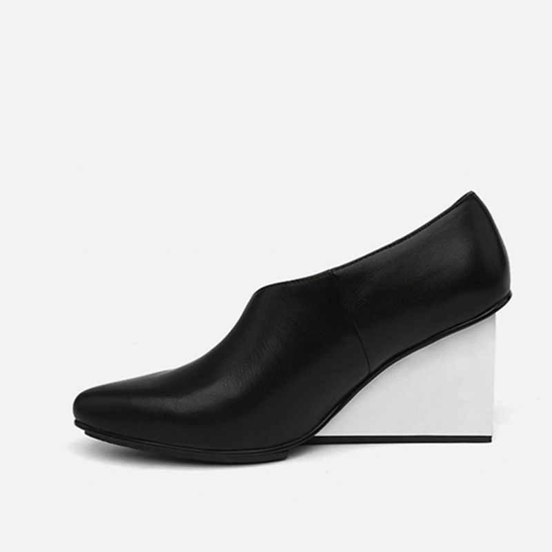 Jady Gül Yeni Moda Siyah Kadın Ayakkabı Kış Üzerinde Kayma yarım çizmeler Gladyatör Sandalet Yüksek Topuk Ayakkabı Kadın Takozlar Terlik Pompaları