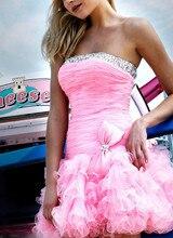 Dressgirl Rosa Cocktailkleider 2017 Strapless Rosa Organza Perlen Rüschen Bow Short Mini Homecoming Kleider
