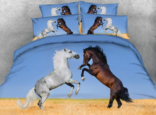 Fighting horse Digital print Bedding Set  Quilt Cover  Design Bed Set Bohemian a Mini Van Bedclothes 3pcs JF083