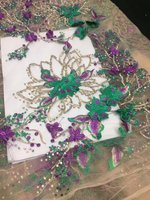 New Lace Design High Quality Nigerian French Net Guipure 3D Flowe Tulle Lace With Beaded African