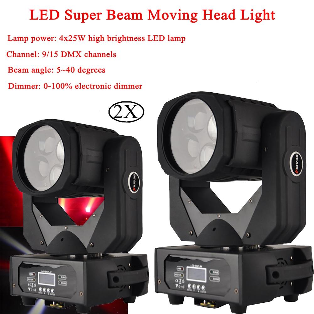 2xLot 2019 Super Beam 4x25W LED Moving Head Light Professional Stage Effect Lighting Cree Led Lamp Max Bright DMX DJ Party Light2xLot 2019 Super Beam 4x25W LED Moving Head Light Professional Stage Effect Lighting Cree Led Lamp Max Bright DMX DJ Party Light