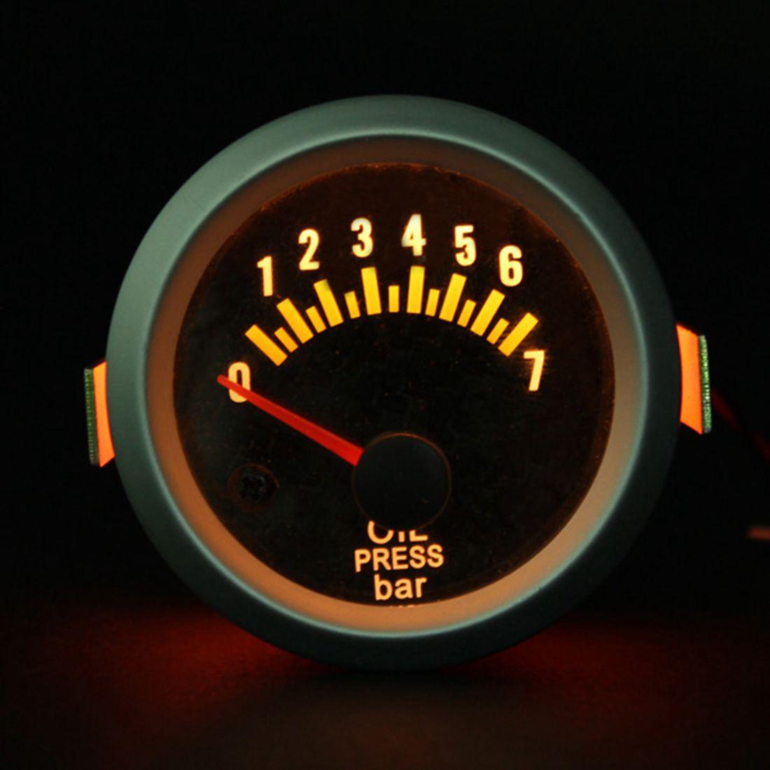 2 pulgadas 52mm indicador de presión de aceite eléctrica medidores cara fibra de carbono amarillo LED Bar