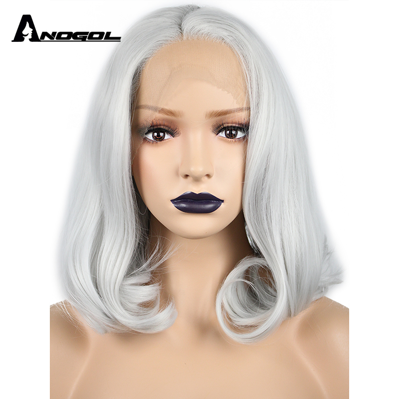 Anogol High Temperature Fiber Perruque Peruca Short Natural Wave Bob Wigs Silver Grey Synthetic Lace Front Wig For Women Costume