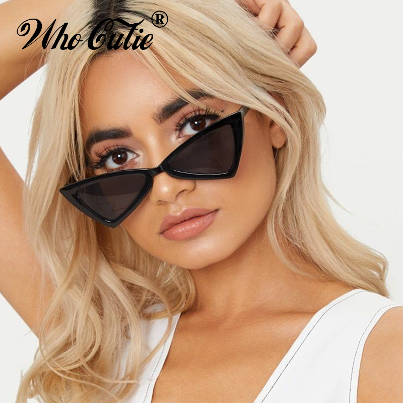 WHO CUTIE 2018 Red Triangle <font><b>Sunglasses</b></font> <font><b>Sexy</b></font> <font><b>Women</b></font> <font><b>Brand</b></font> <font><b>Designer</b></font> Vintage <font><b>Cat</b></font> <font><b>Eye</b></font> Frame Tint Lens Cateye Sun Glasses Shades OM470 image