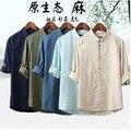 2016 лето льняная рубашка мужской Китайский агитация кнопку воротник Рубашки М-5XL бюст 94-112 см
