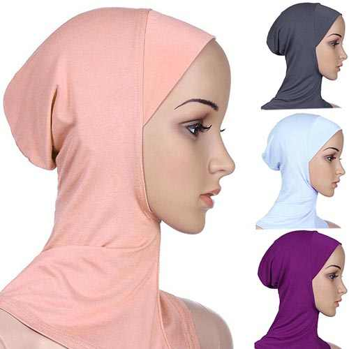 מוסלמי חיג 'אב צעיף רך מוסלמי מלא כיסוי פנימי חיג' אב Wraped כובע אסלאמי Underscarf נשים רגיל בועת צוואר ראש מצנפת טורבן