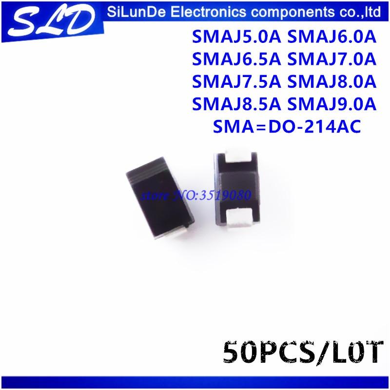 50pcs SMAJ7.0A 7V SMA DO-214AC TVS Diodes