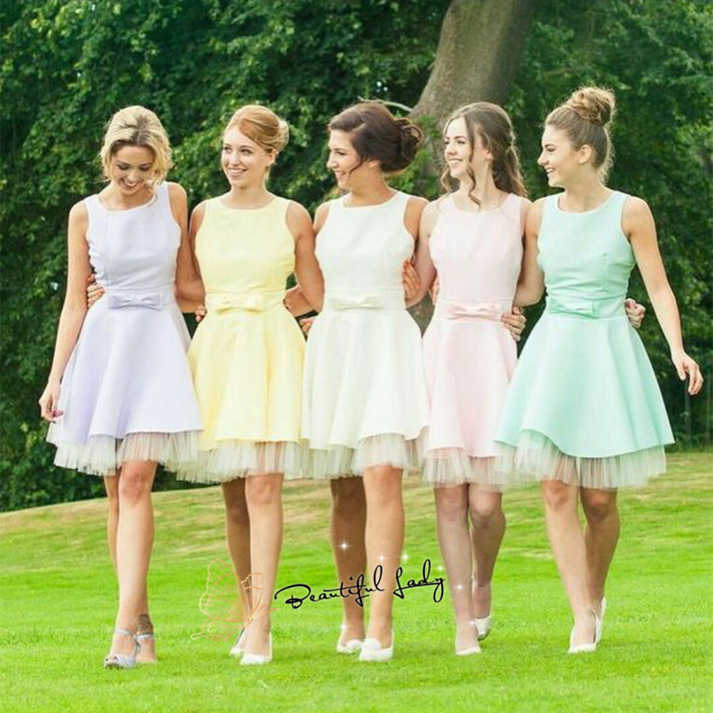 Online get cheap high fashion bridesmaid dresses aliexpress wholesale fashionable 2017 short bridesmaid dresses high quality satin ball gown with bow charming bridesmaid gowns fast deliver ombrellifo Image collections