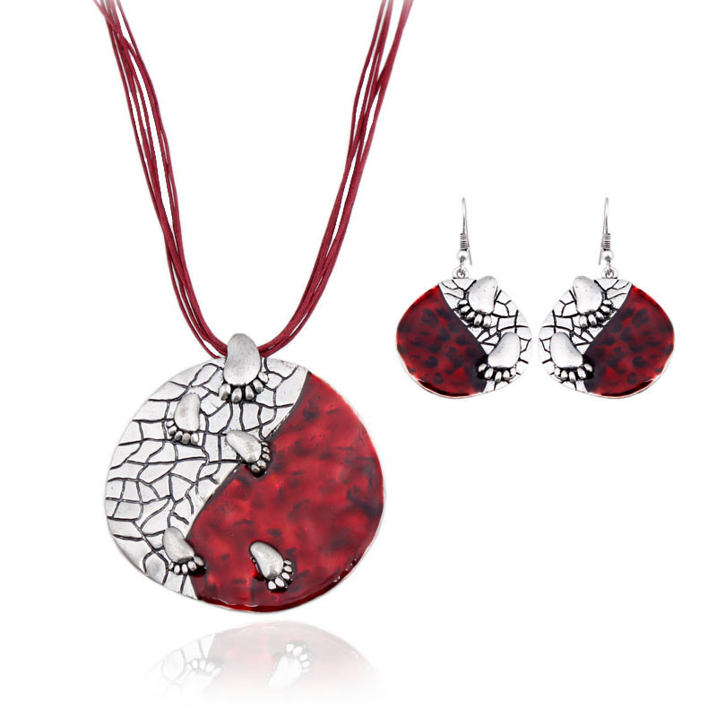 Cheap Brown Red Enamel Jewelry Sets statement Necklace And Earring Set Alloy Jewelry Set Fashion Square 15102010