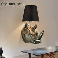 Amerikanischen land rhino kopf wand lampe wohnzimmer schlafzimmer bar Continental wand lampe kreative hause dekorationen freies verschiffen|Wandleuchten|Licht & Beleuchtung -