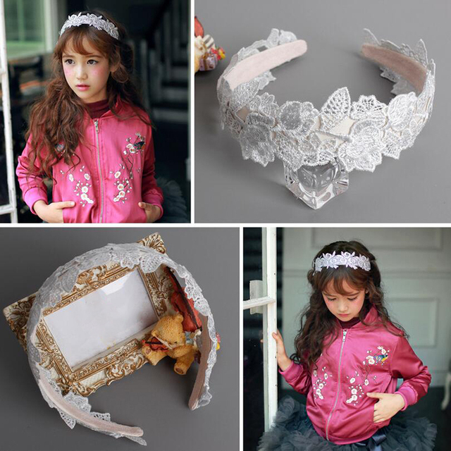 2017 New Fashion Magazine Design Girls Hairbands Lace Flower Hairband Headband Kids Children Headwear
