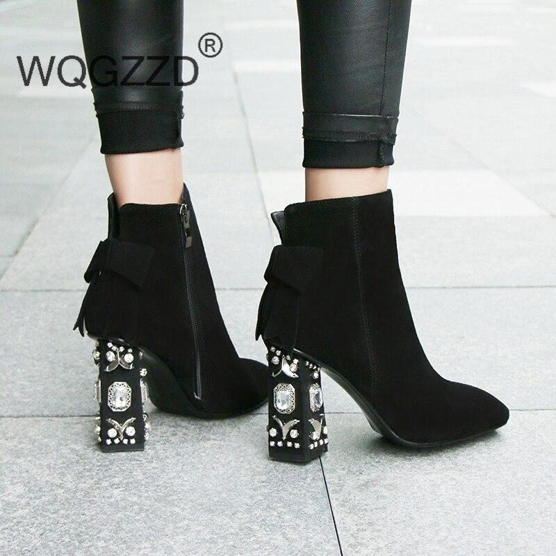 Luxury brand ankle boots women winter shoes cow suede string bead diamond high heel women preppy