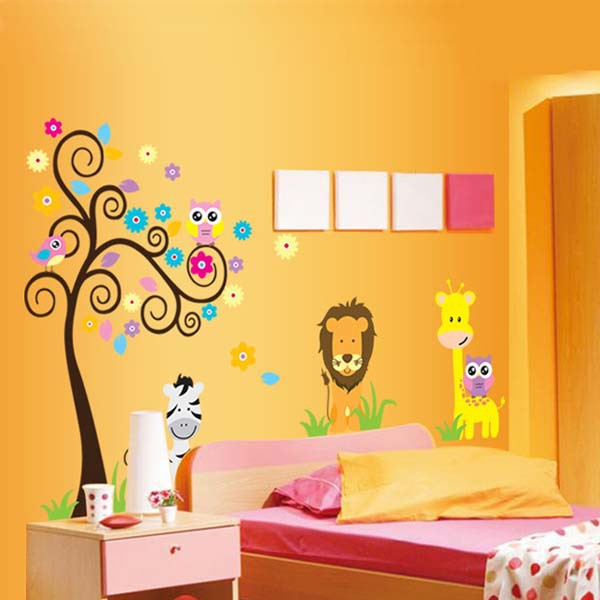 Cute Cartoon Tree Lion Zebra Giraffe Owl Wall Sticker Removable ...