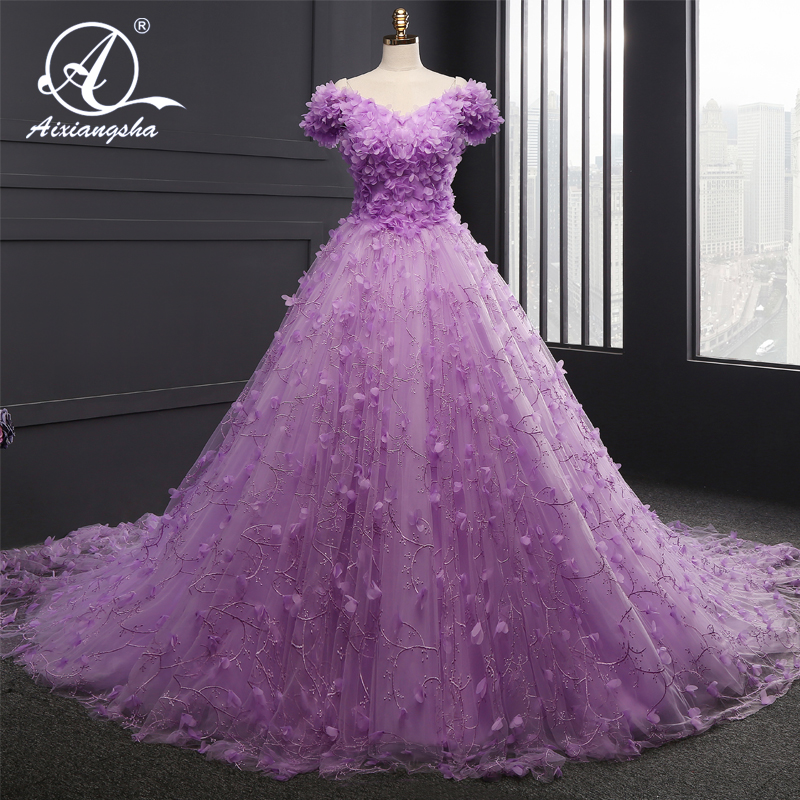 2018 Luxury Purple Ball Gown Glormous Appliques Sweetheart Lace Up ...
