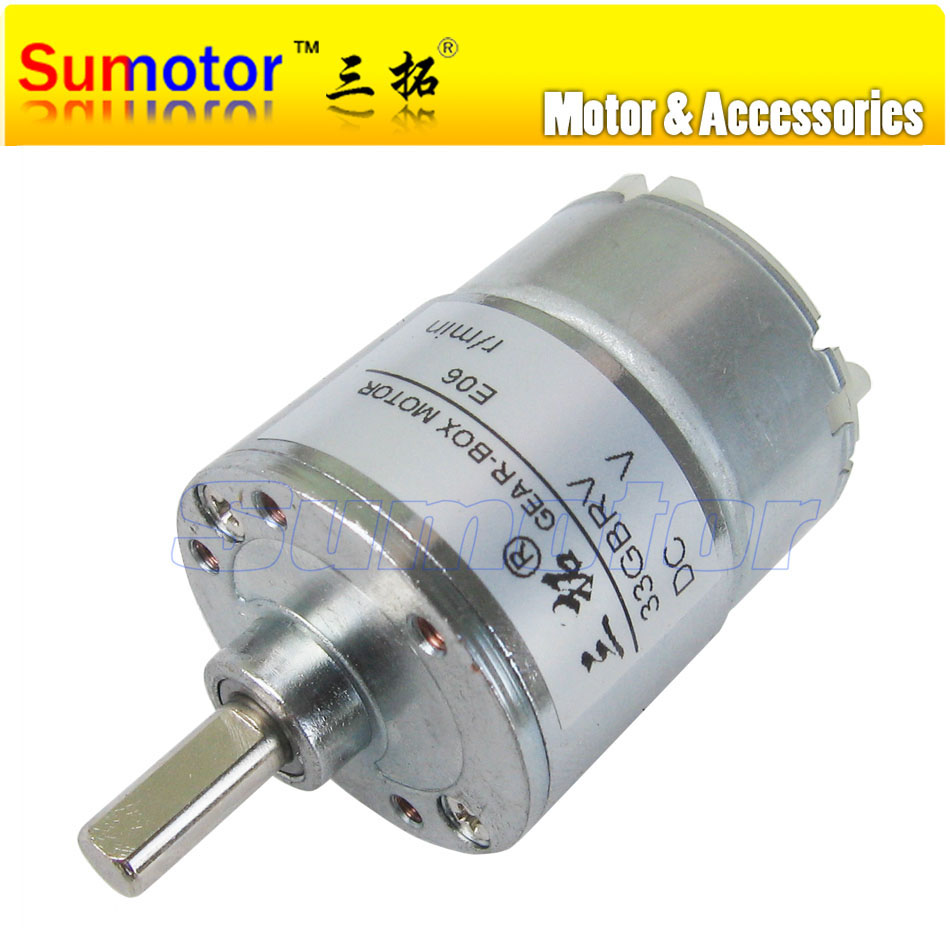 33gbrv Dc 12v Od 37mm Small Electric Reduction Metal Gear Motor Rc Circuit Low Speed For Diy Engine Smart Car Robot Model Money Detector
