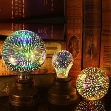 купить LARZI LED Light E27 3D Edison Bulb Decoration Lamp 220V Holiday Lights A60 ST64 G80 G95 G125 Night Lamp Christmas Decoration дешево
