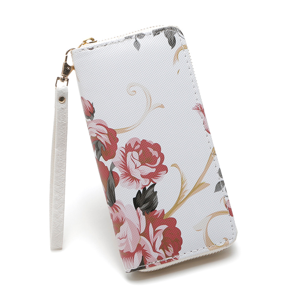 Fashion Women Purse Rose Flower Long Wallet Coin Bag Purse Double Zipper Clutch Phone Purse Women Carteira Feminina New